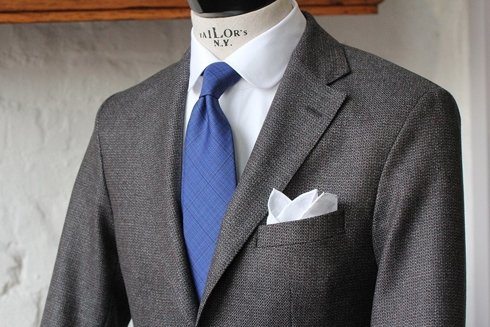 Krawat wełniany BEZ PODSZEWKI w delikatną kratę