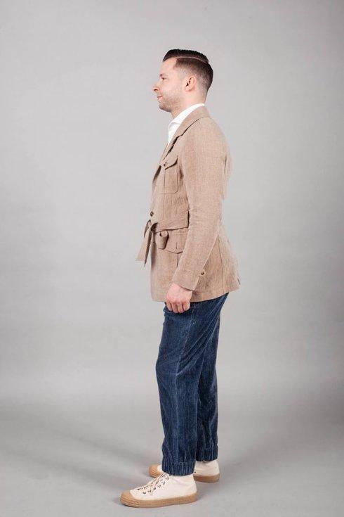 Preorder: Joggery lniany sztruks niebieskie