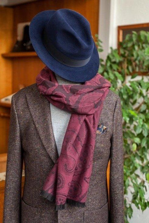 dwustronny bawełniany szal w odcieniach borda