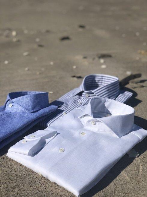 lniana koszula cutaway biała