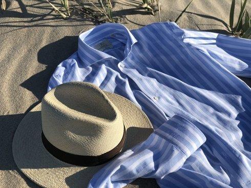 lniano bawełniana koszula w pasy